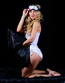 Seductive Sexy Young Woman In Lingerie. Girl Sexy Fashion Model Long Curly Hair. Lady Wear Sexy Lace poster