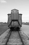 foto of deportation  - Deportation wagon at Auschwitz Birkenau concentration camp - JPG