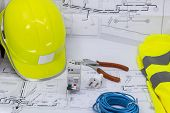 Electricity, Electrician Graphic Resource With Home Plan Safety Equipment And Electrical Equipment F poster