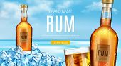 Rum Bottle And Glass Stand Of Heap Of Ice Cubes Mockup Banner. Closed Glass Flask With Cold Condensa poster