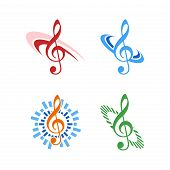 Music Notes Icon Logo Isolated On White Background, Music Logo For Musical Collection. Music Notes L poster