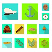 Vector Illustration Of Journey And Seafaring Icon. Collection Of Journey And Vintage Stock Vector Il poster