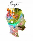 Scorpio  Zodiac Sign. Man Silhouette. Watercolor Illustration. Horoscope Series. Isolated Objects On poster