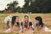 Three Young Women In Blue Dresses, And Hats Lie On Plaid And Drink Wine. Outdoor Picnic On Grass On  poster