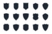 Shield Icon Set On White Background, Shield Symbols In Flat Style For Web Design, App, Ui, Logo poster