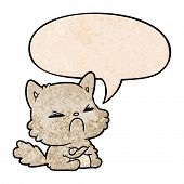 cute cartoon angry cat with speech bubble in retro texture style poster