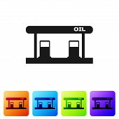 Black Gas Filling Station Icon Isolated On White Background. Transport Related Service Building Gaso poster