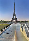 View On Eiffel Tower In Paris From Pond Of Trocadero  In Morning poster