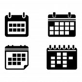 Set Of Calendar Icon Isolated Black On White Background, Calendar Icon Vector Flat Modern, Calendar  poster