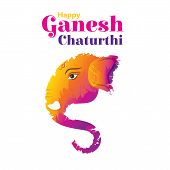 Illustration Of Lord Ganpati, Ganesh Chaturthi Festival Of India Banner Concept Design poster