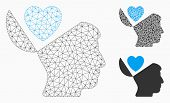Mesh Open Mind Love Heart Model With Triangle Mosaic Icon. Wire Carcass Polygonal Network Of Open Mi poster