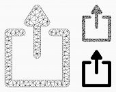 Mesh Uploads Model With Triangle Mosaic Icon. Wire Carcass Polygonal Mesh Of Uploads. Vector Mosaic  poster
