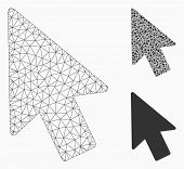 Mesh Mouse Pointer Model With Triangle Mosaic Icon. Wire Frame Triangular Mesh Of Mouse Pointer. Vec poster