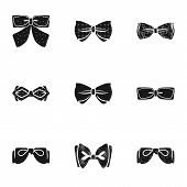 Elegant Bow Tie Icon Set. Simple Set Of 9 Elegant Bow Tie Vector Icons For Web Design Isolated On Wh poster