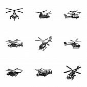 Modern Helicopter Icon Set. Simple Set Of 9 Modern Helicopter Vector Icons For Web Design Isolated O poster