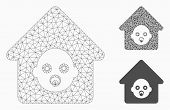Mesh Nursery House Model With Triangle Mosaic Icon. Wire Frame Polygonal Mesh Of Nursery House. Vect poster