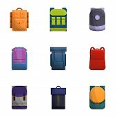 Backpack Icon Set. Cartoon Set Of 9 Backpack Vector Icons For Web Design Isolated On White Backgroun poster