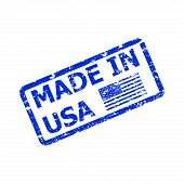 Made In America, Product From Usa, Rubber Stamp Sketch. American Quality Rubber Stamp, Vector Manufa poster