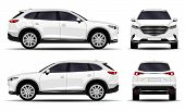 Realistic Suv Car. Front View; Side View; Back View. poster
