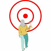 Woman Throwing Axe, Target Wood, Hatchet Throwing, Success Axe. White Background. poster
