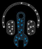 Flare Mesh Headphones Tuning Wrench With Glare Effect. Abstract Illuminated Model Of Headphones Tuni poster