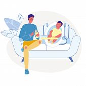 Father Feeding Infant Flat Vector Illustration. Young Dad, Male Babysitter And Toddler Sitting On Co poster