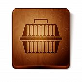 Brown Pet Carry Case Icon Isolated On White Background. Carrier For Animals, Dog And Cat. Container  poster