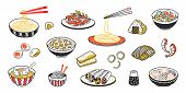 Doodle Asian Food. Chinese Noodles Delicious Soup Meat Slices And Sauces. Vector Vintage Sketch Of E poster