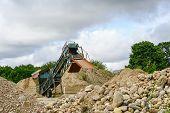 Gravel Fraction Sorting Machine In Gravel Quarry poster