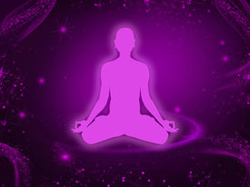 stock photo of sanscrit  - Background with a meditating person in lotus pose - JPG
