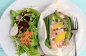pic of grated radish  - Fresh sockeye salmon poached in parchment with lemon capers green beans and salad greens - JPG