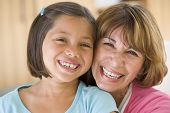 picture of early 50s  - Grandmother with granddaughter smiling - JPG