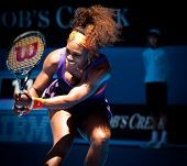 MELBOURNE - JANUARY 19: Serena Williams in her third round win over Ayumi Morita of Japan at the 201
