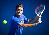 MELBOURNE - JANUARY 19: Roger Federer of Switzerland in a practice sessionat the 2013 Australian Ope