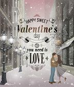 Valentine`s day greeting card - snowy romantic street pic.