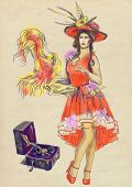 pic of vaudeville  - A hand drawn illustration of beautiful  - JPG