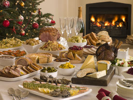 image of christmas dinner  - Boxing Day Buffet Lunch Christmas Tree and Log Fire - JPG