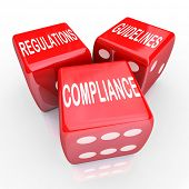 picture of conduction  - The words Compliance Regulations and Guidelines on three red dice to illustrate the need to follow rules and laws in conducting business - JPG