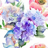 foto of hydrangea  - Watercolor illustration of Beautiful Hydrangea blue flowers seamless pattern - JPG