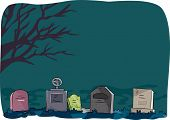 image of dead-line  - Halloween Illustration Featuring Tombstones Lined Up in a Cemetery - JPG