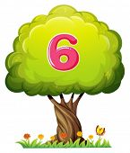Illustration of a tree with a number six figure on a white background