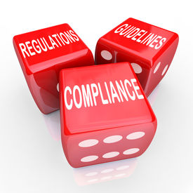 pic of conduction  - The words Compliance Regulations and Guidelines on three red dice to illustrate the need to follow rules and laws in conducting business - JPG