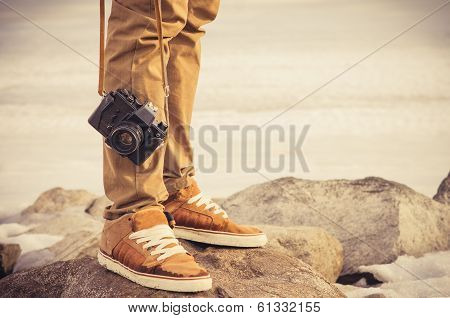 Feet Man And Vintage Retro Photo Camera Outdoor Travel Lifestyle Vacations Concept poster