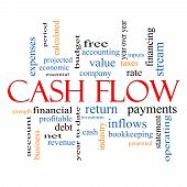 foto of debt free  - Cash Flow Word Cloud Concept with great terms such as return investment payments and more - JPG