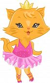 Illustration of a Cute Cat Wearing a Ballerina Costume