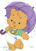 Illustration of a Cute Baby Bear Using an Umbrella to Shelter Itself from the Rain
