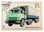 Stamp Printed In Russia, Shows Retro Truck Maz - 515 B