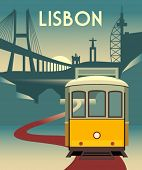 Vector poster - Romantic Lisbon street with the typical yellow tram, landmarks and monuments