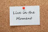 stock photo of time-piece  - The phrase Live in the Moment printed on a piece of graph paper and pinned to a cork notice board - JPG