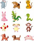 Постер, плакат: 12 Animal Icon Set chinese Zodiac Animal